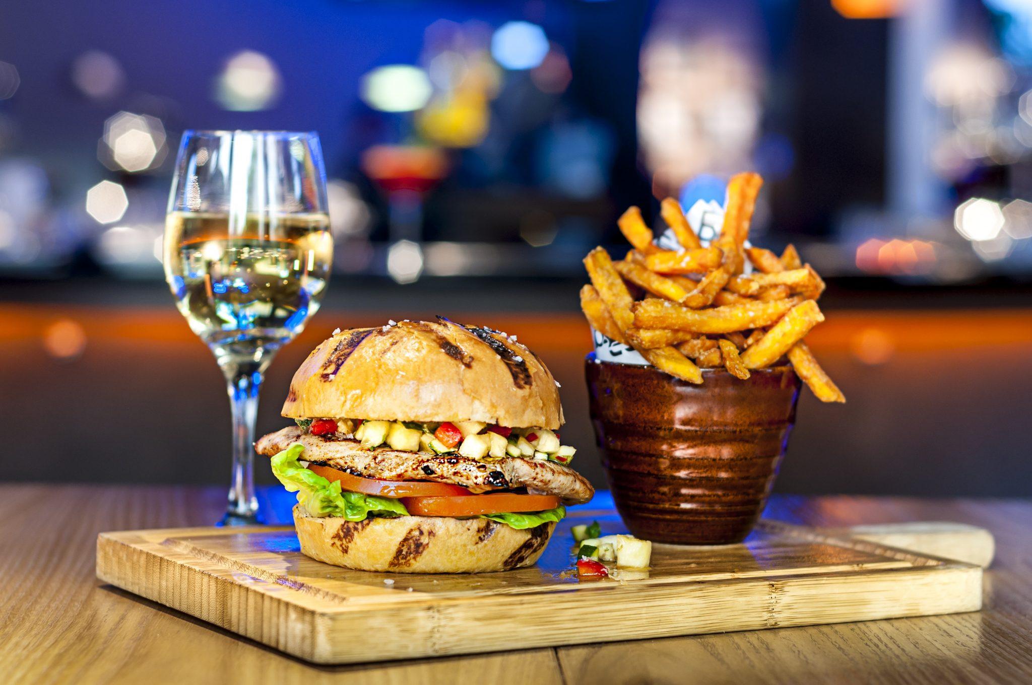 B Bar at Clayton Hotel Burlington Road chicken burger and glass wine
