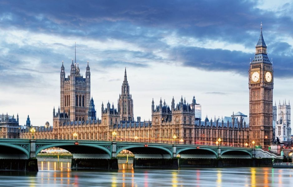 visit Westminster Bridge and Houses of Parliament on banks of River Thames in London