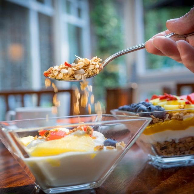 Granola bowl served at Vitality Breakfast