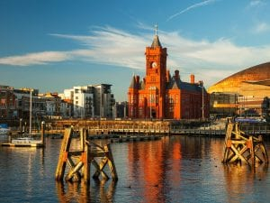 panoramic view of cardiff bay